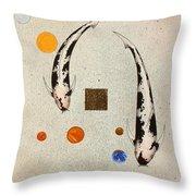 Koi Universe Utsuri Mono Painting Throw Pillow