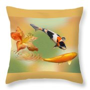 Koi With Azalea Ripples Dreamscape Throw Pillow