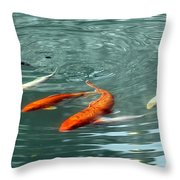 Koi With Sky Reflection Throw Pillow