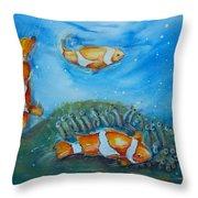 Koi's On The Reef Throw Pillow