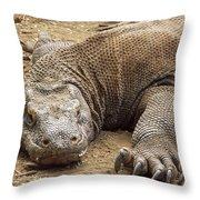 Komodo Dragon Male Basking Komodo Island Throw Pillow