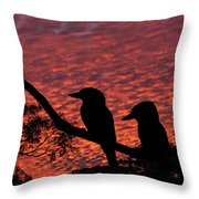 Kookaburras At Sunset Throw Pillow