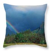 Koolau Mountains And Rainbow Throw Pillow