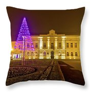 Koprivnica Night Street Christmas Scene Throw Pillow