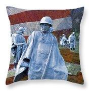 Korean War Veterans Memorial Bronze Sculpture American Flag Throw Pillow