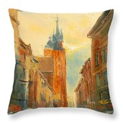 Krakow Florianska Street Throw Pillow