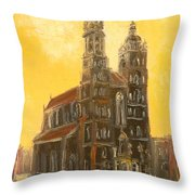 Krakow - Mariacki Church Throw Pillow