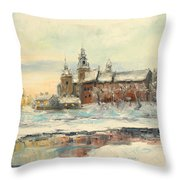 Krakow - Wawel Castle Winter Throw Pillow