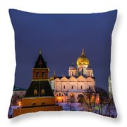 Kremlin Cathedrals At Night - Featured 3 Throw Pillow