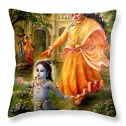 Krishna Damodara Throw Pillow by Lila Shravani