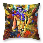 Krishna With A Star Deer Throw Pillow by Lila Shravani