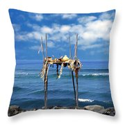 Ku Emanu Heiau Kona Throw Pillow