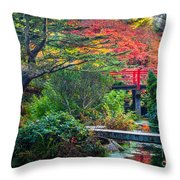 Kubota Gardens In Autumn Throw Pillow