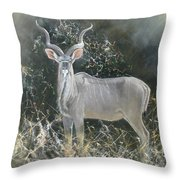 Kudu Bull Throw Pillow