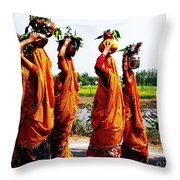 Kumaoni Ladies Throw Pillow by Ankeeta Bansal