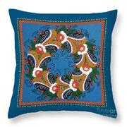 Kurbits Wreath Blue Throw Pillow