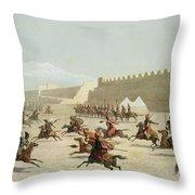 Kurdish And Tatar Warriors At Sadar Throw Pillow