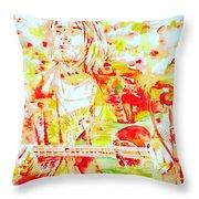 Kurt Cobain Live Concert - Watercolor Portrait Throw Pillow