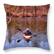 Kyaking On A Lake In Spring Throw Pillow
