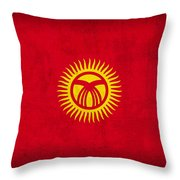 Kyrgyzstan Flag Vintage Distressed Finish Throw Pillow