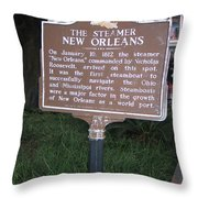 La-001 The Steamer New Orleans Throw Pillow