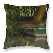 La Barque A Giverny Throw Pillow