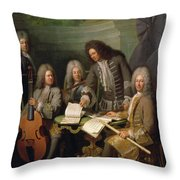 La Barre And Other Musicians, C.1710 Oil On Canvas Throw Pillow