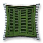 La Boca Shutter Green Throw Pillow