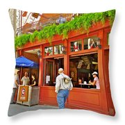 La Cage Aux Sports In Old Montreal-quebec Throw Pillow