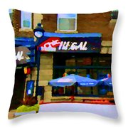 La Chic Regal Pointe St Charles Blue Umbrellas On The Terrace Montreal Pub Scene Carole Spandau Throw Pillow