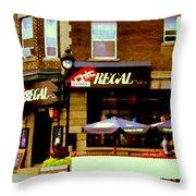 La Chic Regal Taverne Au Coin Rue Centre Et Charlevoix Pointe St Charles Scene De Rue Carole Spandau Throw Pillow