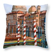 La Chiesa Della Salute Sul Canal Grande Throw Pillow by Guido Borelli