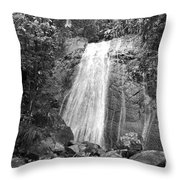 La Coca Falls El Yunque National Rainforest Puerto Rico Print Black And White Throw Pillow