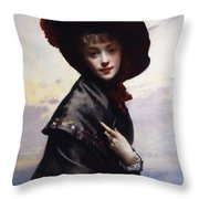 La Coquette Throw Pillow by Gustave Jean Jacquet