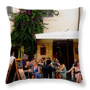 La Dolce Vita At A Cafe In Italy Throw Pillow