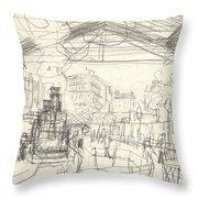 La Gare Saint Lazare Throw Pillow by Claude Monet