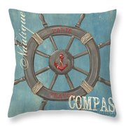 La Mer Compas Throw Pillow by Debbie DeWitt
