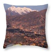 La Paz Skyline At Sundown Throw Pillow