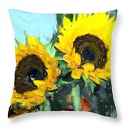 La Peinture Impressionniste De Tournesol Throw Pillow