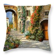 La Porta Rossa Sulla Salita Throw Pillow