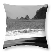 La Push Beach Black And White Throw Pillow