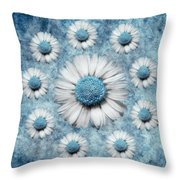 La Ronde Des Marguerites - Blue V02 Throw Pillow by Variance Collections