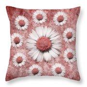 La Ronde Des Marguerites - Pink 02 Throw Pillow