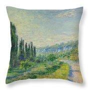 La Route De Vetheuil Throw Pillow