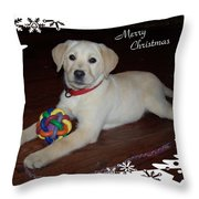 Lab Pup Merry Christmas Throw Pillow