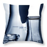 Laboratory Erlenmeyer Flasks In Science Research Lab Throw Pillow