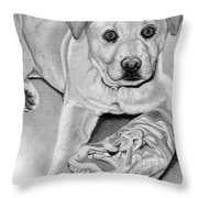 Sneaker Snatcher- Labrador And Chow Chowx Mix Throw Pillow