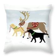 Labrador Dogs Lead Reindeer Throw Pillow