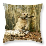 Labrador Jumping With Stick Throw Pillow