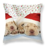 Labrador Puppy Dogs Wearing Christmas Throw Pillow